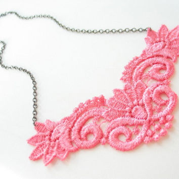Ballroom pink lace necklace