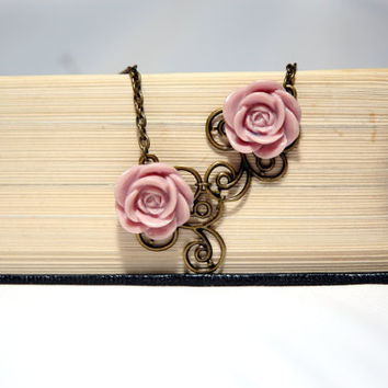 Dusty Pink Cabochon Rose Vintage Floral Necklace by Myvera on Etsy