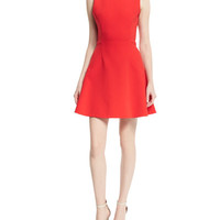 Victoria Beckham Sleeveless Hexagonal-Seam Mini Dress, Red