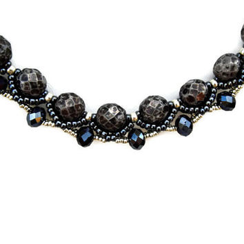 Black and silver beaded necklace with Czech faceted, rondelles and seed beads