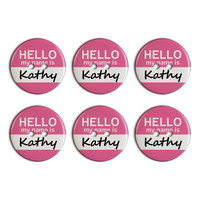 Kathy Hello My Name Is Plastic Resin Button Set of 6
