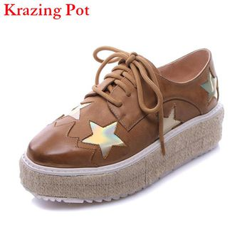 2017 Genuine Leather Superstar Brand Shoes Star Increased Platform Flats Square Toe Classic Lace Up Woman Casual Oxfords Shoes L