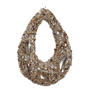 """7.5"""" Golden Encrusted Sequins and Jewels Hoop Christmas Ornament"""