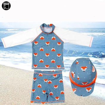 Childrens Swimsuit Cute USEEMALL 1-8Years Children Swimwear Boys Two Pieces Bathing Suit Cute Animal Print Summer Swimming Wear Kids Baby  2018 KO_25_2