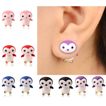 Fashion Summer Style Handmade Alloy Polymer Cartoon 3D Animal Penguin Stud Earring For Women Fine Jewelry brincos bijoux 3155