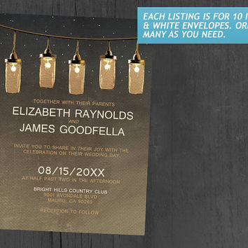 Rustic String Lights Wedding Invitations | Invites | Invitation Cards