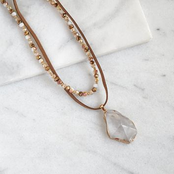 Stone Pendant Double Necklace