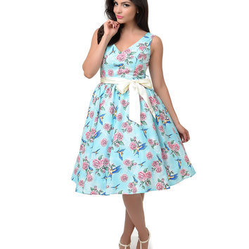Hell Bunny 1950s Style Blue Rose & Sparrow Lacey Swing Dress