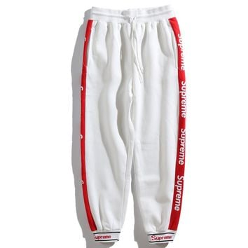 Supreme Autumn and winter new fashion string mark letter print sports leisure pants trousers White