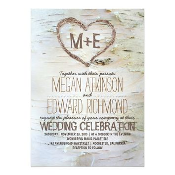 Birch tree heart rustic wedding invitations