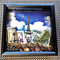 Personalized Money Bank Shadow Box Frame, Wedding Honeymoon Funds, Keepsake Memory Box With FREE personalization