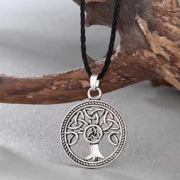 New Brand Jewelry Celtic Knot Family Tree of Life Round Charm Pendant Silver Necklace For Women Girls Gift Accessories