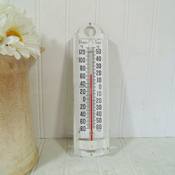 Vintage White Enameled Metal Taylor Handy Temp InDoor / OutDoor Working Glass Thermometer - Shabby Cottage Chic Rustic Old Glass Thermometer