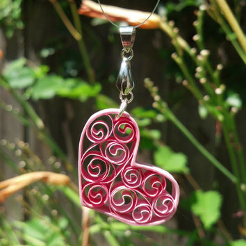 Eco-Friendly Sweetheart Filigree Quilled Pendant - Shades of Pink - paper quilling jewelry, heart pendant, gift for her, bridal jewelry
