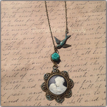Mom Jewelry, Mother Child Cameo With Bird And Flower Necklace, Mother's Day Gift