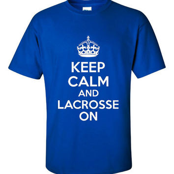 Keep Calm And LACROSSE On Cool LACROSSE T SHIRT Unisex Kids Adults Unisex Keep Calm Lacrosse On T Shirt