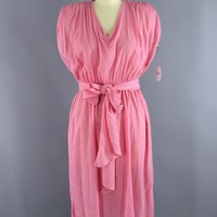 1980s Vintage Cotton Gauze Day Dress / Grecian Style / Candy Pink