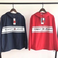 Tommy Hilfiger Fashion Semi Zipper Cardigan Sweatshirt Jacket Coat Windbreaker Sportswear