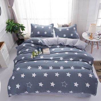 Minimalistic style white stars and gray stripe Duvet Cover sheets Bedding Set King queen full twin size Cute Girls bedclothes