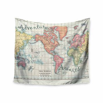 "Catherine Holcombe ""Adventure Awaits World Map"" Beige Pink Mixed Media Vintage Travel Wall Tapestry"