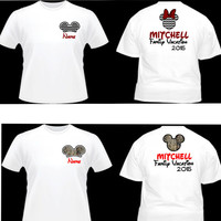 Free Shipping Custom Inspired Minnie & Mickey Silouette Family Vacation Shirts Personalized, Mickey Ears, Family Shirts