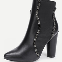 Chain Design Block Heeled Ankle BootsFor Women-romwe