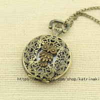 The Pocket Watch Necklace man jewelry owl harry potter jewelry