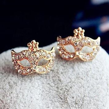 Cute Crystal Rhinestone Bohemian Style Mask Ring  8RD153