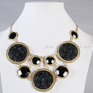 Gemstone Jewelry, Statement Necklace, Black Bubble Necklace, Druzy Necklace, Sterling Necklace, Holiday Necklace (Fn0822-Black)