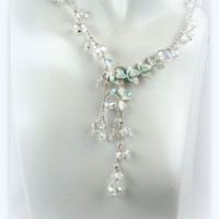 Crystal & Mint Blossom Necklace crystal beads mint flower pendant necklace 5614