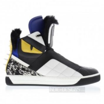 Indie Designs Fendi Inspired Monster Fur-Trimmed High-Top Sneakers