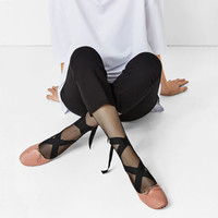 LACE-UP LEATHER BALLET FLATS DETAILS