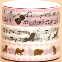 cats deco tape-set musical notes Japan - Animal Tapes - Deco Tapes - Stationery