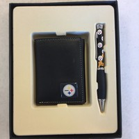 NFL PITTSBURGH STEELERS WALLET AND PEN GIFT SET GREAT HOLIDAY GIFT SHIPPING
