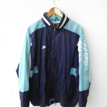 ON SALE 25% Vintage Casual 90's NIKE Premier Swoosh Big Logo Streetwear Windbreaker Sweater Blue Light Green Nylon Jacket L