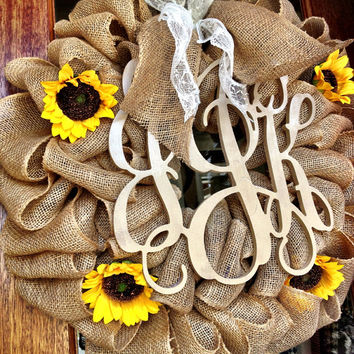 Custom Natural Burlap Vine Interlocking Monogram With Sunflowers And Burlap And Lace Bow - Perfect for a wedding