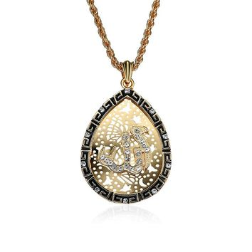 Religious Gold Plated Allah Mohammed Drop Pendant Necklace Islamic Jewelry for Men Women