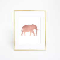 Rose Gold Elephant Artwork Wall Print
