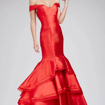 Fitted Off Shoulder Red Mermaid Prom Jovani Dress 31100A