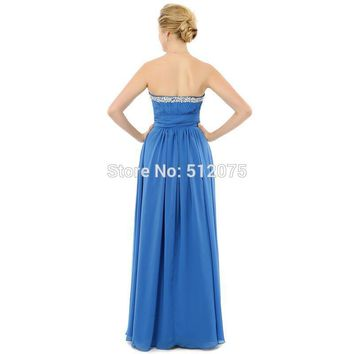 Long Evening Dress Blue Chiffon Sweetheart Beaded A Line Floor Length Formal Dresses