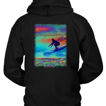 ESBH9S Surfer Art Brush Hoodie Two Sided