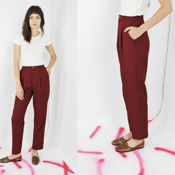 vtg 70s LEVI'S trousers red high waisted slacks minimalist maroon pants closet staple 26 inch waist SMALL SM S