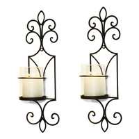 Brown Iron Vertical Wall Hanging Candle Holder Sconce Accents French Accents Holds One Pillar Candle each (Set of Two)