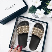 Gucci Slipper Pearl Fashion Casual Women Pearl Print Sandal Slipper Shoes Brown B