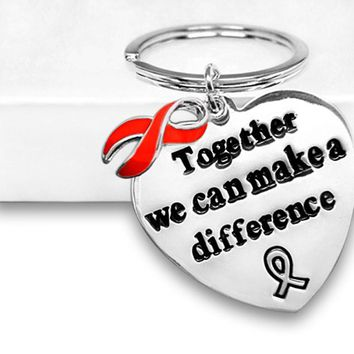 Red Ribbon Awareness Key Chain for Heart Disease Awareness