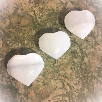 SELENITE Puffy White Heart Crystal /Angel Crystal (ONE) with FREE Affirmation Card & Bag. Selenite Crystal, Angel Crystal, Clearing Crystal