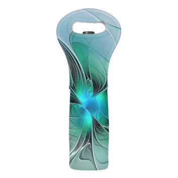 Abstract With Blue, Modern Fractal Art Wine Bag