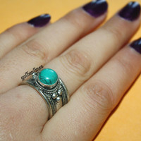 Adjustable Turquoise Ring Tibet Ring Nepal Ring Tribal bohemian ring urban ring gypsy ring Tibet Ring southwestern ring country ring RI903