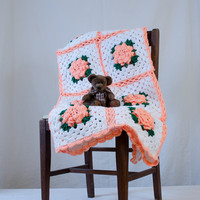 "Peachy-Coral Rose Flower Crochet Vintage Afghan Throw Blanket 66""x40"" Twin Size"