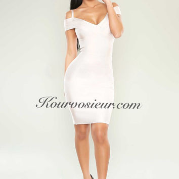Dominique sleeveless bandage dress (white)